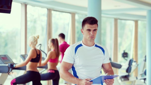 people group in fitness gym